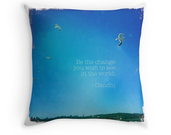 Celebration of Life - Graduation (photo throw pillow cushion cover, meaningful inspirational Gandhi quote, cloudless blue sky soaring)