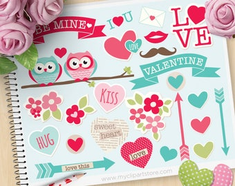 Be My Valentine, Valentine's Day Clipart, Journal Stickers, Sweetheart, Arrows, Owls, flower, Commercial Use, Vector clip art, SVG Cut Files