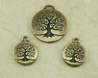 3 TierraCast Tree of Life Charms and Pendant Mix > Brass Ox plated Lead Free Pewter - I ship Internationally