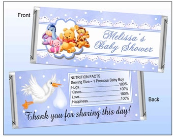 Blue WINNIE THE POOH Baby Shower Favors printable Candy Bar Wrappers ~ Instant Download ~ D.I.Y.