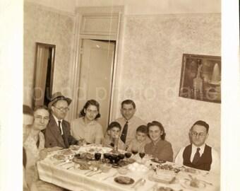 Vintage Photo, Jewish Holiday, Passover Seder, Black & White Photo, Family Photo, Old Photo, Snapshot, Found Photo, Matzoh, Classic Photo