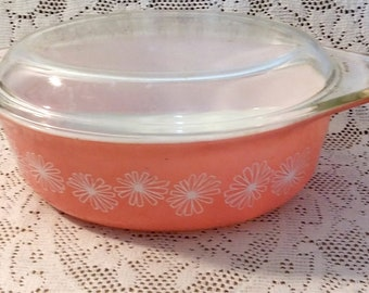 Pyrex Pink Daisy Vintage Casserole Dish with Lid