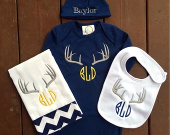 Monogrammed Personalized Deer Antler Layette with options for Gown, Knotted Beanie, Burpcloth, and Chevron Bib