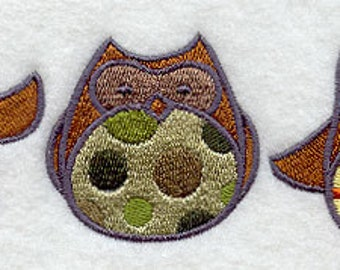 Patterned Owl Triptych Embroidered Flour Sack Hand/Dish Towel