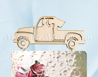 Mr & Mrs Wedding Cake Topper Husband Wife Vintage Pickup Truck Wedding decor Painted  Unpainted Special Occasion 4341