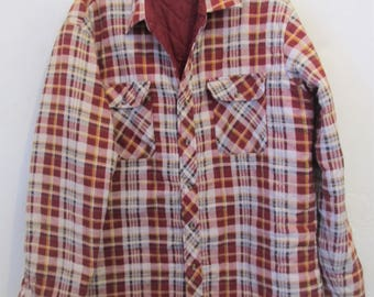 A Men's  QUILTED Vintage 70's,Rugged Red Plaid,STONER era FLANNEL Shirt By Northwest Territory.L(42L)