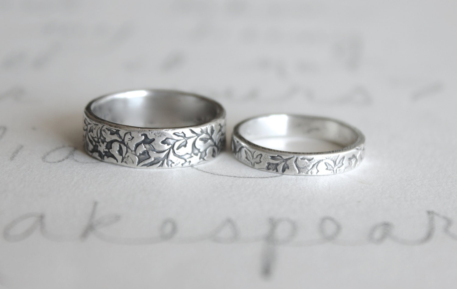 wedding band ring set vine leaf wedding rings bands