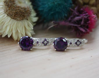 Sterling silver earrings with violet gems, Violet sterling silver earrings, Violet earrings, Emroidery pattern sterling silver earrings