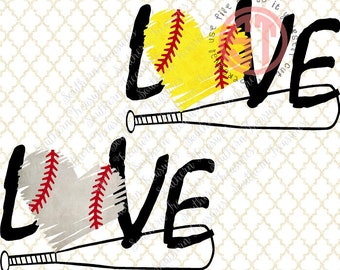 Love Baseball or Softball with bat and heart Editable vector Cut File .eps .ai .svg and .pdf formats included INSTANT download