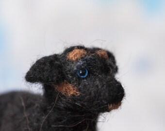 Rottweiler - puppy / dog / realistic animal / cute / toy / sculpture / dog / black / blue / mutt / miniature / gift / present / birthday