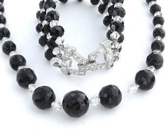 Art Deco Glass Bead Necklace Bracelet, Black Clear Faceted Rhinestone Bracelet Necklace Bridal Party Favorite Daily Jewelry Set