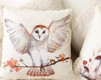 Hand-painted Owl Woodland Cushion