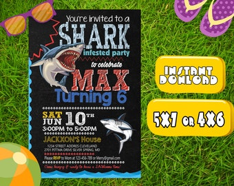 Shark Birthday Invitation,Shark Party Invitation,Shark Invitation,Shark Birthday,Shark Birthday party,Shark party,Shark Invited Party-SL563
