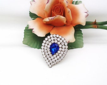 Vintage Tear Drop Brooch | Blue Rhinestone Brooch | Bridal Jewelry | Cobalt Blue Brooch Pin | Statement Piece