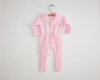 Vintage Pink Knit Baby Sleeper
