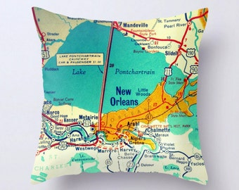 New Orleans Map Pillow Cover, New Orleans Gift, blue pillow cover, Travel Gift, N.O. LA, New Orleans Pillow home Decor Lake Pontchartrain LA