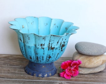 Vintage beach Bowl , Hand Painted Ombre, Coastal Cottage Mermaid Style