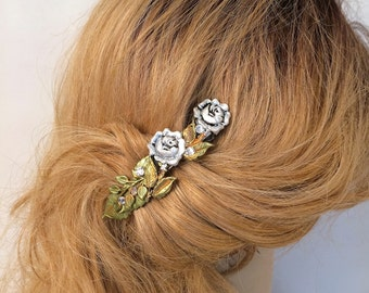 Rose Hair Barrette with Swarovski crystals