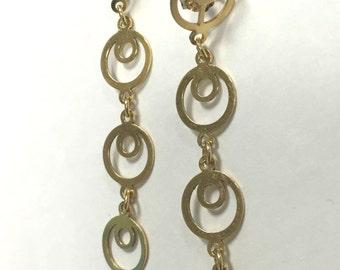 Circles within Circles! 14k yellow Gold Dangles - Pierced