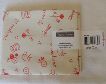 Cotton fabric coupon I Love sewing coral/Ivory Pearl