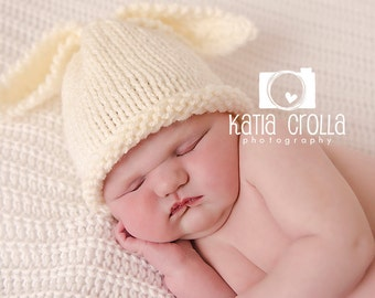 Winter bunny hat etsy preemie baby hat bunny rabbit hat cream neutral newborn photo prop babyshower gift prem baby girl negle Choice Image