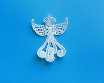 Beautiful Lace Angel Ornament with Crystal Detail on Swirling Skirt