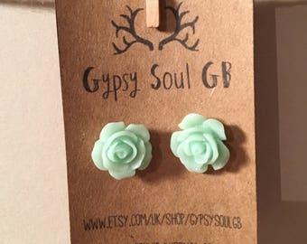 Flower earrings, rose earrings, green earrings, green flower, christmas present, stocking filler, gift for girls,