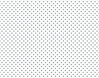 Riley Blake Designs, Swiss Dots Navy on White  (C660 21)