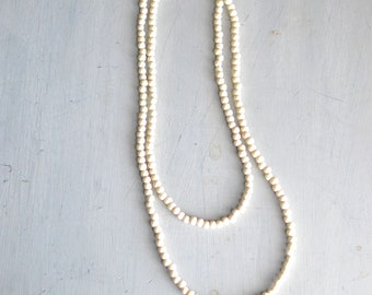 White Beaded Wrap Around Necklace Choker Necklace Long Necklace Layering Necklace