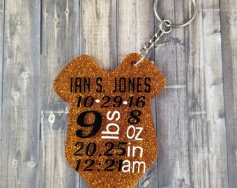 Birth stats key chain