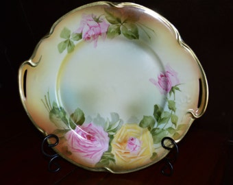J & C Bavaria Louise Plate with Handles and Rose Pattern