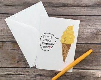 ice cream card - love card - summer anniversary card - i love you card - pun card - cute romantic card - soft spot card - friend bday card
