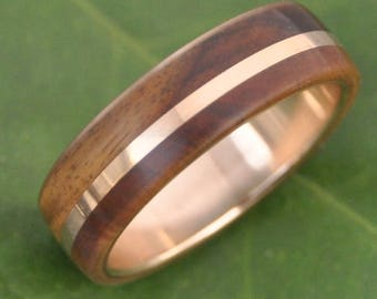 Size 11 READY TO SHIP Gold Solsticio Oro Guayacan - ecofriendly recycled 14k yellow gold wood ring, lignum vitae and gold wood band, wedding