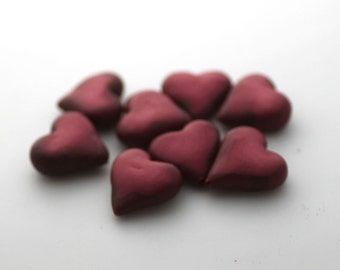 Red Heart Beads, Polymer Clay Beads, Crimson Hearts 8 Pieces