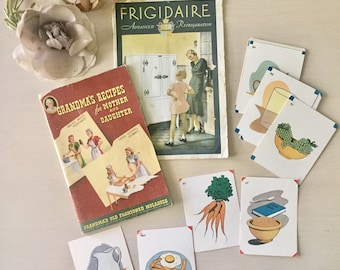 Vintage Cooking Craft Set- Vintage Flash Cards- 1960- Scrapbooking - Journaling - Gifts for Her - DIY