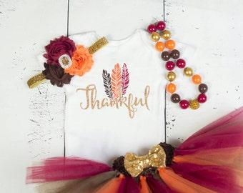 FALL THANKSGIVING Baby Girl Tutu Outfit,Thankful Brown Burgundy Orange Cake Smash Photo Bodysuit,Shirt,Headband,Necklace,