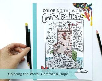 PRINTABLE DIGITAL DOWNLOAD Coloring the Word: Comfort & Hope Bible Verse Coloring Book // 30 hand-drawn Bible verse illustrations