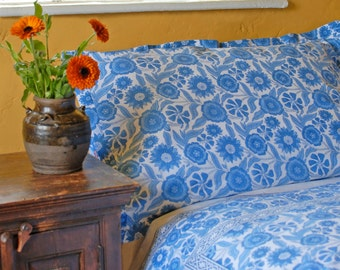 Blue Sunflower Pillowcases Hand Block Printed on Organic Cotton