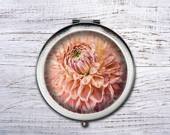 Personalized Flower Compact Mirror, Bridesmaid Gifts Cosmetic Mirror Personalized Gifts for Mom, Birthdays, Ladies, Girls, Women