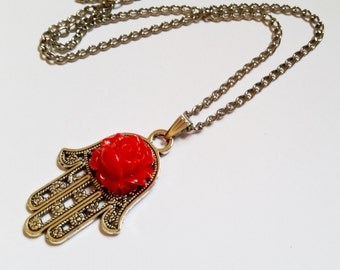 Red Eyes - Gothic Steampunk Judaical Hamsa hand Evil Eye charm pendant necklace Israel Hand made