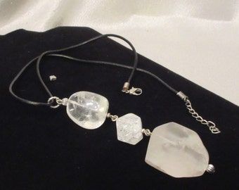 Garage...Rock Crystal Quartz Drop Necklace, Handmade, Matte Rock Quartz, Crackle Rock Quartz,  Clear Crystal Quartz Jewelry, Healing Stone
