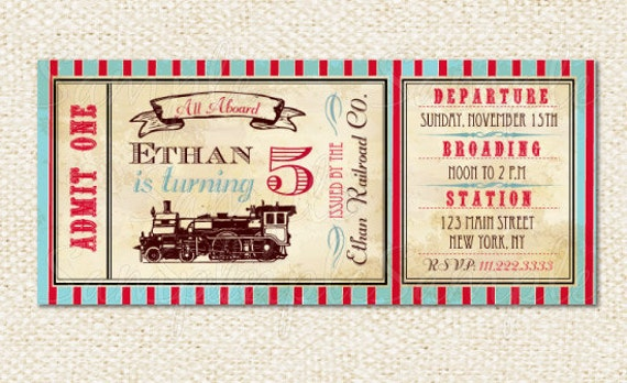 Train Ticket Invitations Train Birthday Invitations