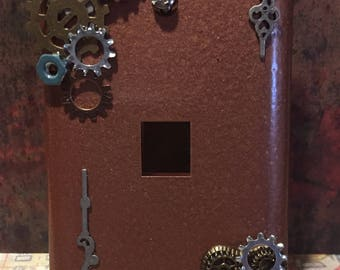 Hammered Cooper colored Steampunk phone jack cover