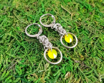 Stainless Steel earrings with yellow Swarovski crystals