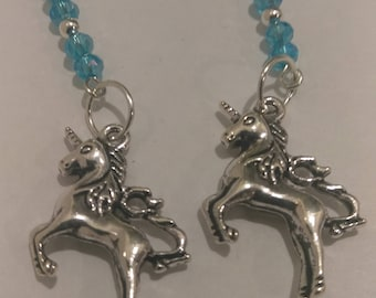 Sliver Unicorn Horse Earrings with Blue and Silver Beads