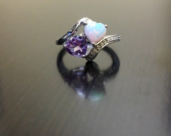 Sterling Silver Amethyst Diamond Opal Engagement Ring   Opal Heart Diamond  Wedding Ring   Diamond Amethyst
