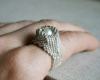 fresh pearl ring, gemstone ring, statement ring, seed bead ring, silver ring, seed bead jewelry, gift ring, ring for her, romantic ring
