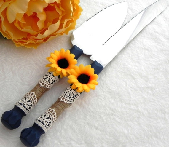 Rustic Sunflower Wedding Cake Server And Knife Set, Navy Blue with Burlap and Ivory Lace, Country Wedding,  Bridal Shower Gift, Wedding Gift
