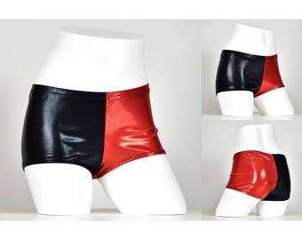 SAMPLE SALE: Size Small Black and Red Shiny Harley Quinn Booty Shorts S hot pants cosplay costume metallic mystique short spandex vinyl