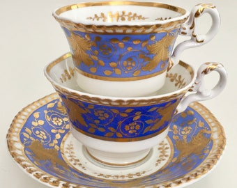 Antique Spode tea/coffee trio, perwinkle with raised gold, ca 1828